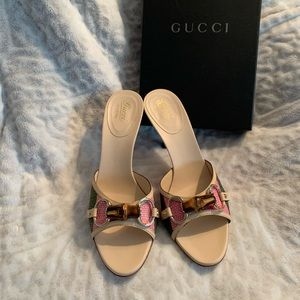 New n Box Gucci Sand Tess S Cuoio Multi-Color Heel